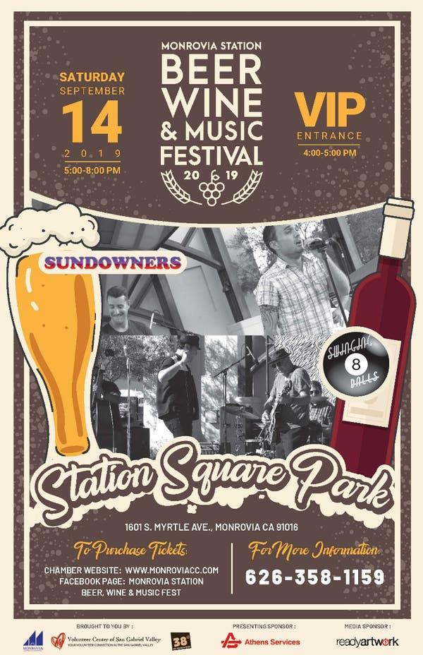 Sep 14   Monrovia Station Beer Wine & Music Festival