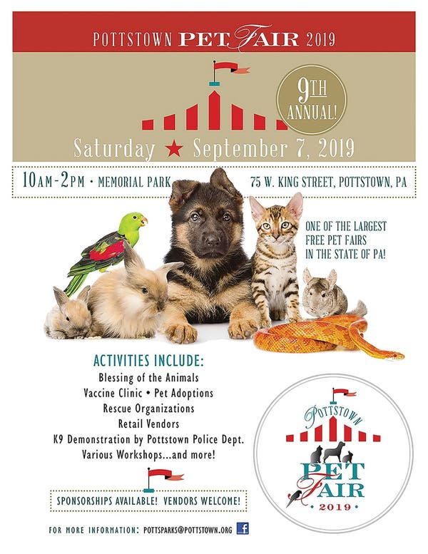 Sep 7 | Pottstown Pet Fair - Sept  7, 2019 - 10:00am - 2