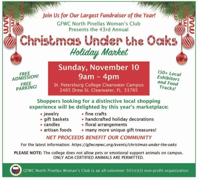 Christmas Under The Oaks.Nov 10 Christmas Under The Oaks Holiday Market