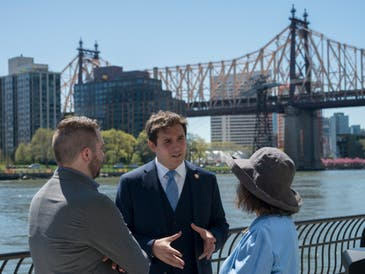 Ben Kallos attends a ribbon-cutting on the East River Esplanade in April 2019. Voting for this year's participatory budgeting projects opens April 5.