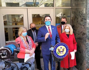 City Councilmember Ben Kallos, Assemblymember Rebecca Seawright and U.S. Rep. Carolyn Maloney spoke Tuesday outside Eleanor Roosevelt High School.