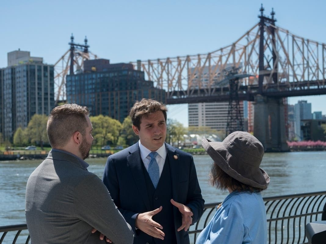 Ben Kallos attends a ribbon-cutting on the East River Esplanade in April 2019. His monthly First Friday event will be held in-person this week for the first time since the pandemic began.