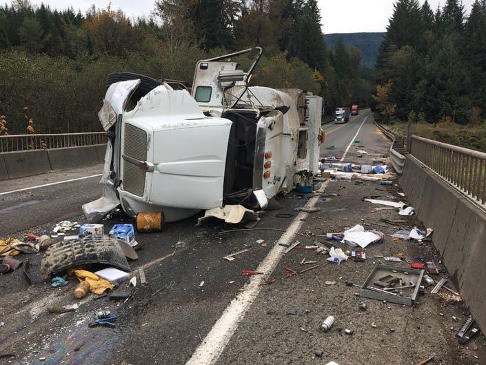 Semi-Truck Rollover Blocks State Route 18