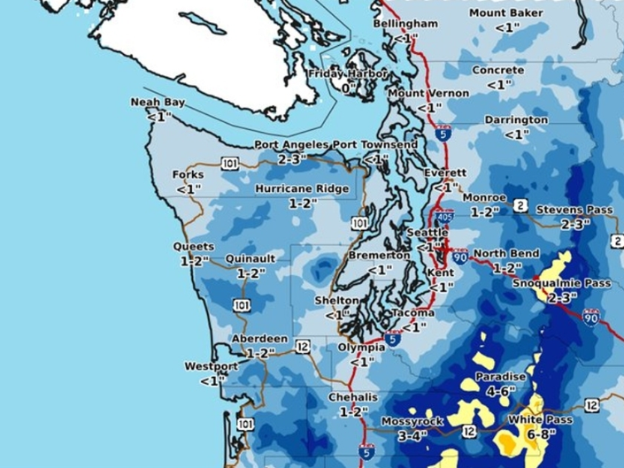 Snow Continues Tuesday, Winter Weather Advisory In Pierce County