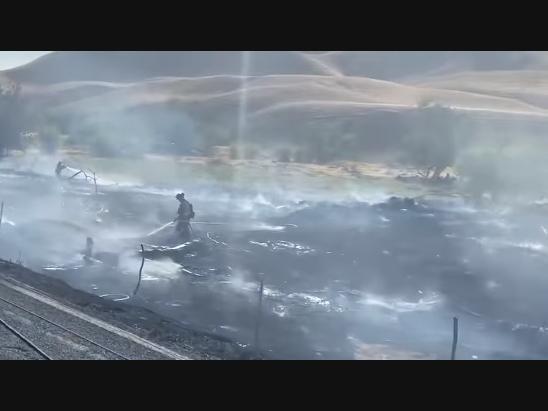 Car Crash Near I-580 Sparks Brush Fire: WATCH