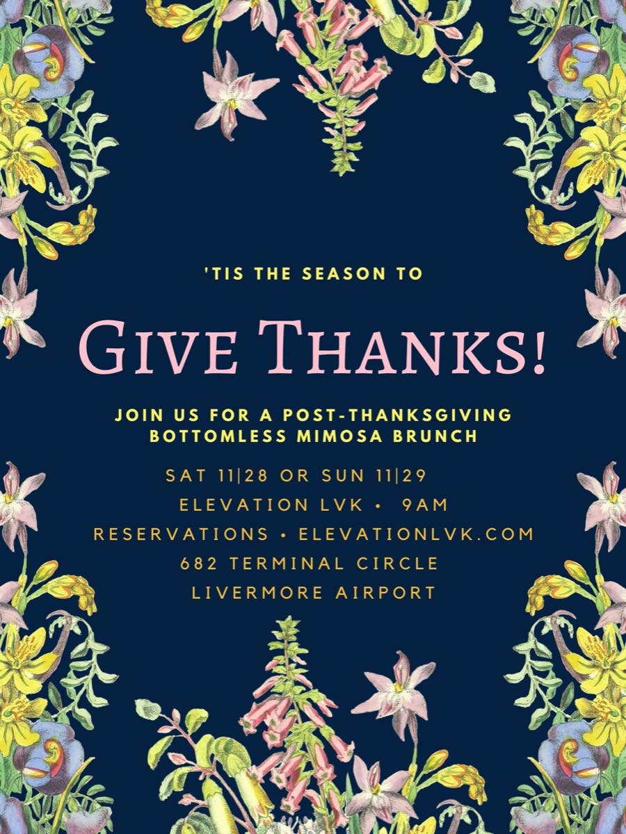 Local Event: Post-Thanksgiving Bottomless Mimosa Brunch