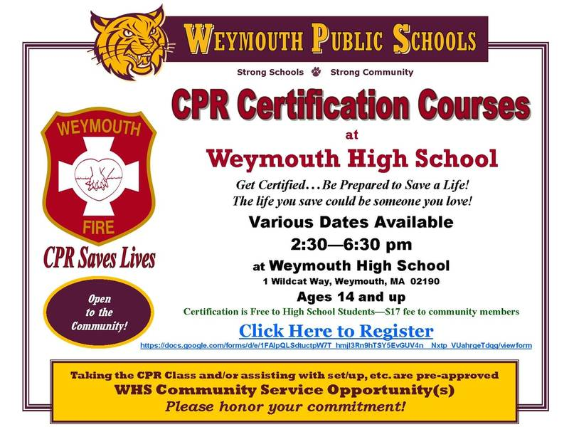 Cpr Certification Courses Available At Whs Weymouth Ma Patch