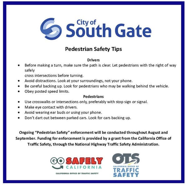 South Gate Pedestrian Safety Tips South Gate Ca Patch