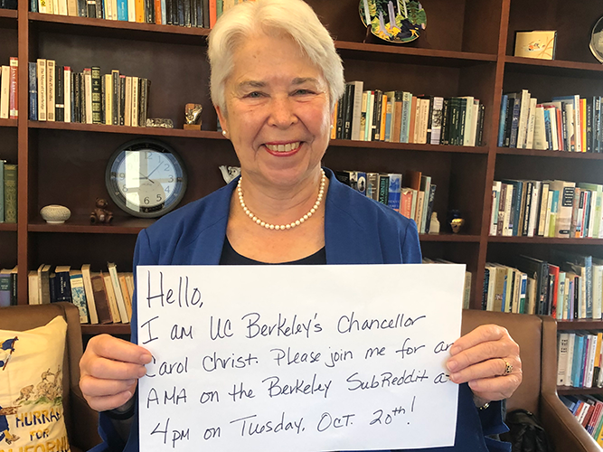 Halloween 2020 Reddit Review UC Berkeley Chancellor Carol Christ To Host An 'Ask Me Anything