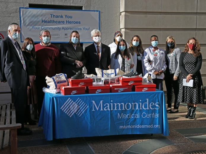 Brooklyn-based Maimonides Medical Center received a donation of 5,500 pairs of sneakers as part of an effort to honor medical professionals.