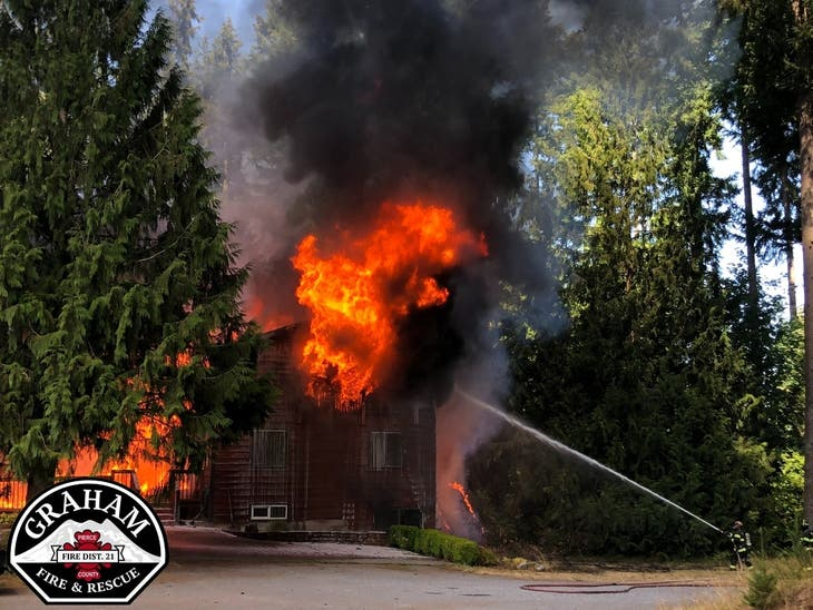 Firefighters Respond To Spanaway House Fire
