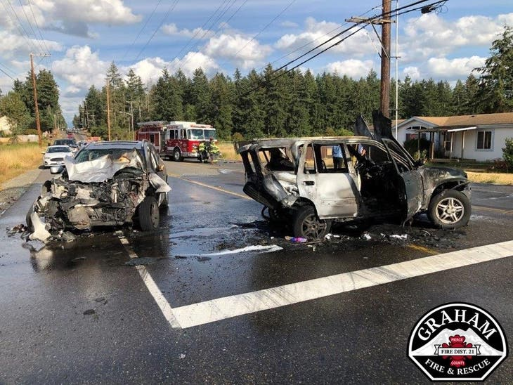 Graham Car Crash: 11-year-old Girl Pulled From Burning SUV