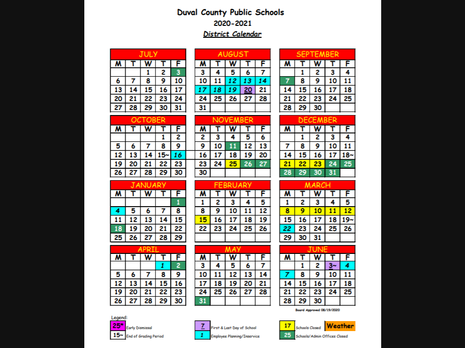 Dcps Calendar 2022.Updated Duval County Schools 2020 21 School District Calendar Now Available Jacksonville Fl Patch
