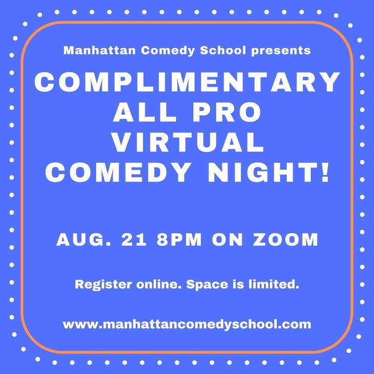 Complimentary All Pro Virtual Comedy Show!