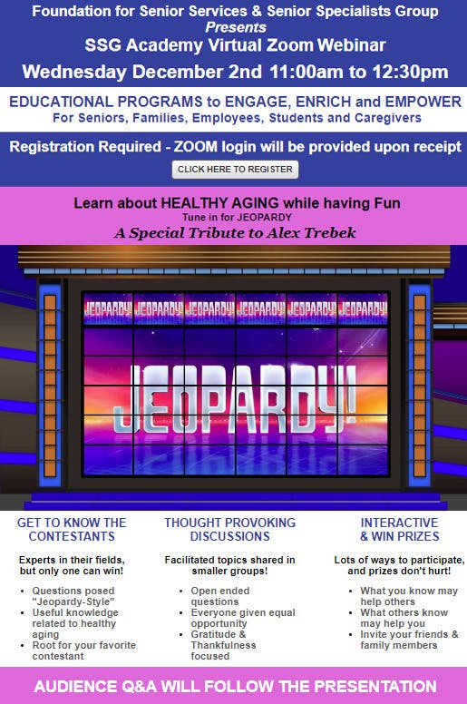 Local Event: A Game of JEOPARDY for Healthy Aging - Seniors & Retirees