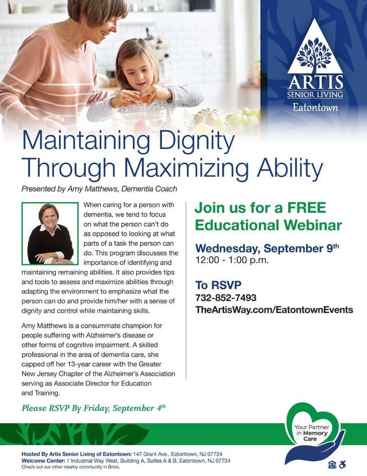 "FREE WEBINAR ""Maintaining Dignity Through Maximizing Ability"""