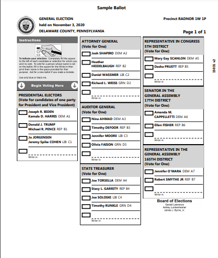 General Election Day In Radnor Twp.: Who's On Your Ballot