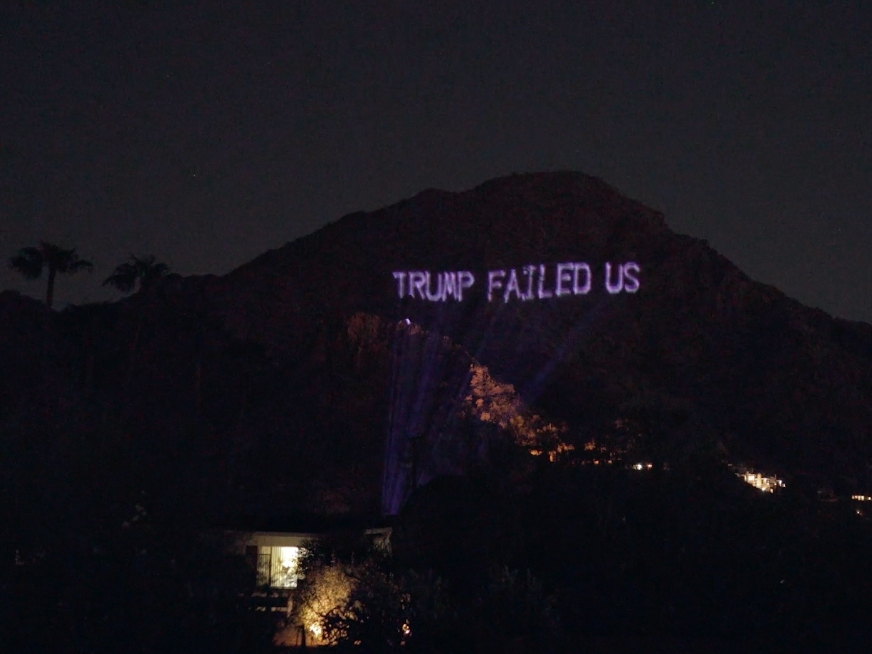 Anti-Trump Messages Projected Onto Camelback Mountain