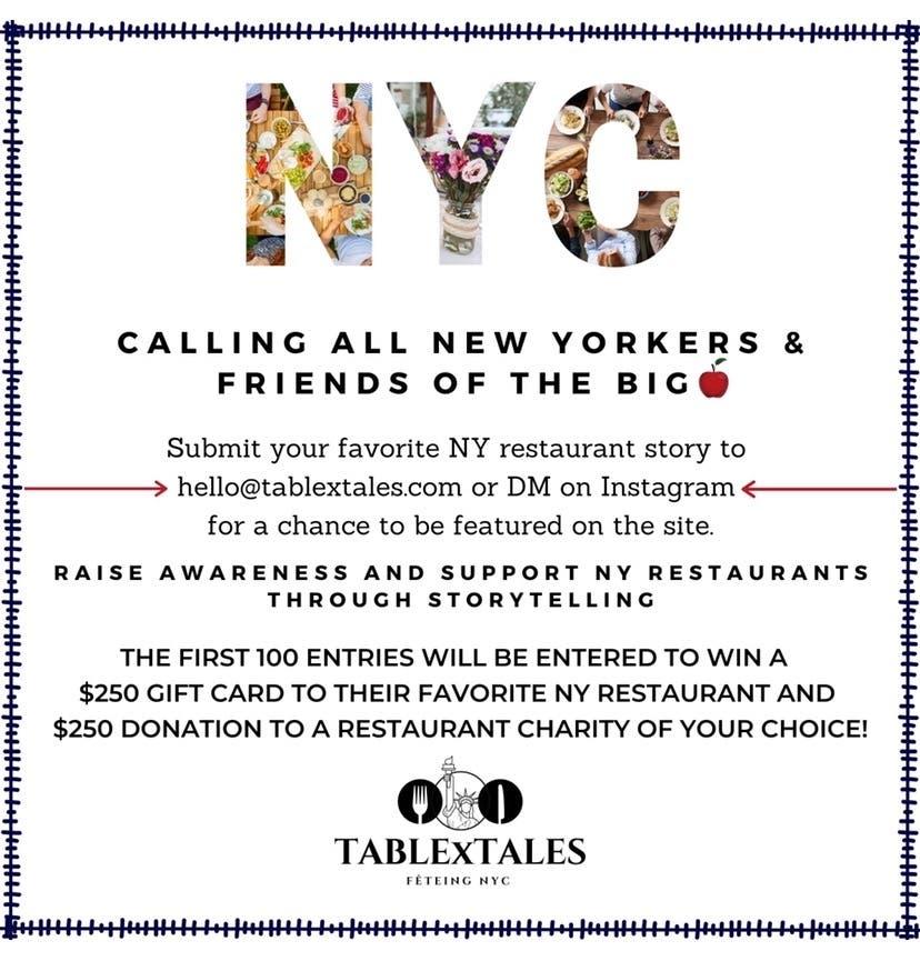 Let's Help NY restaurants through Storytelling!