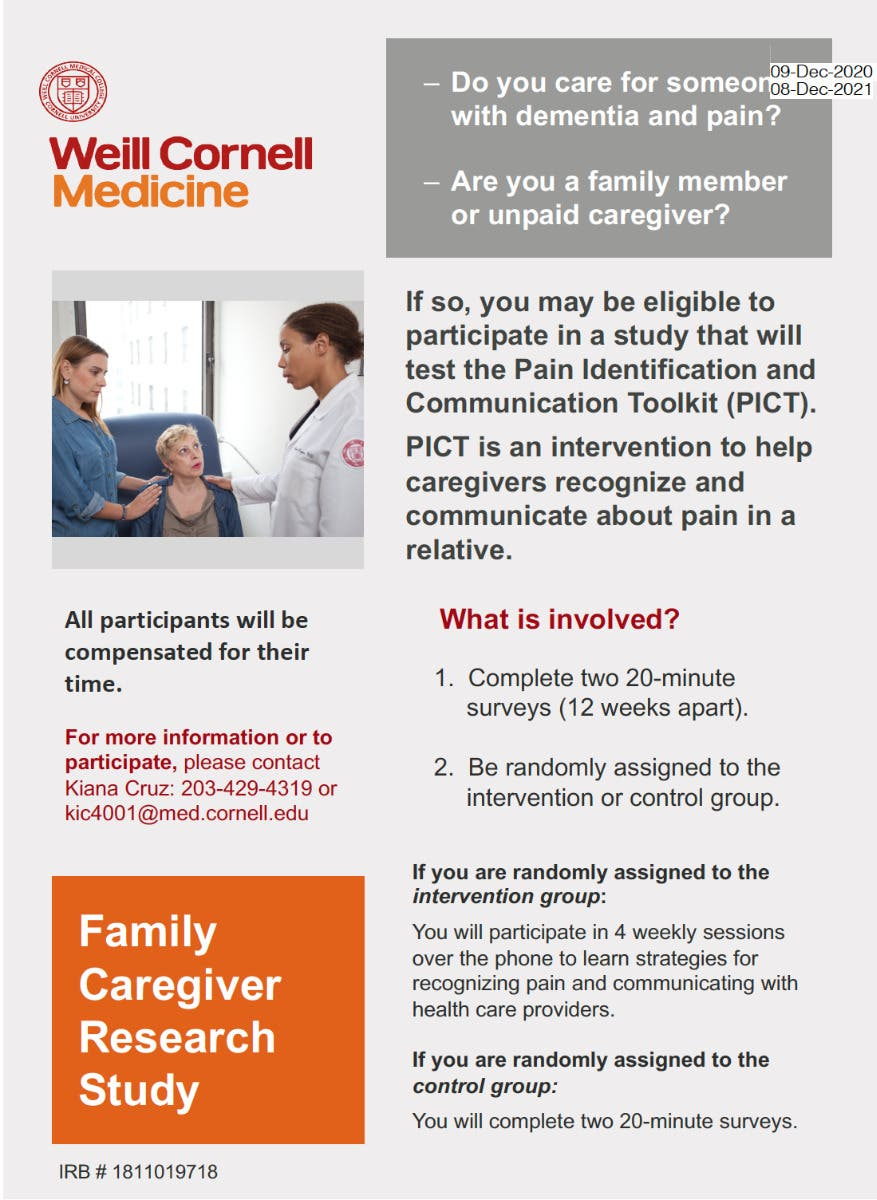 Overwhelmed Caring for Someone with Dementia & Pain? Paid Study