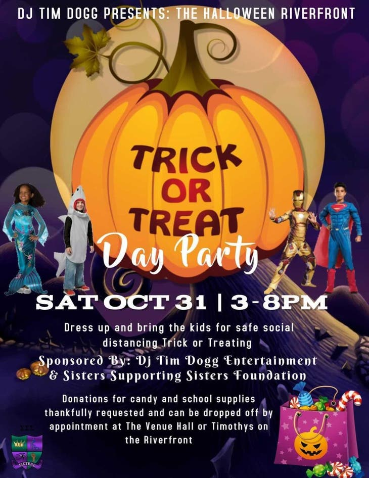 Grown folks and kids outdoor Halloween  trick or treat day party