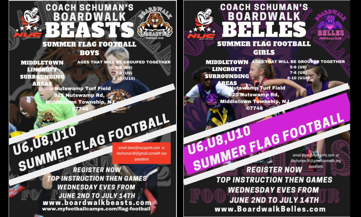 Flag football this summer for youth boys and girls in middletown