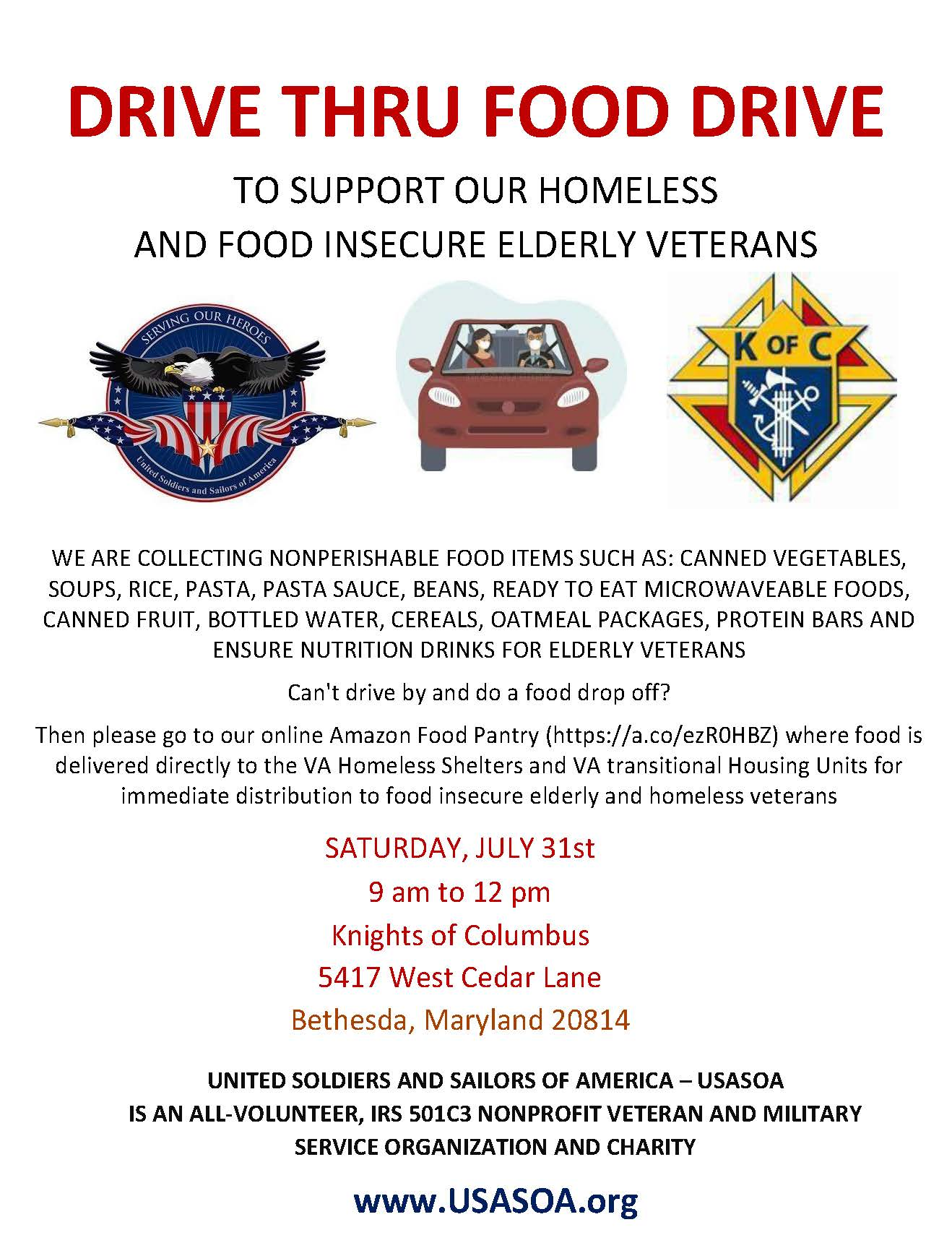 USASOA Food Collection Drive 7/31 9am to 12pm