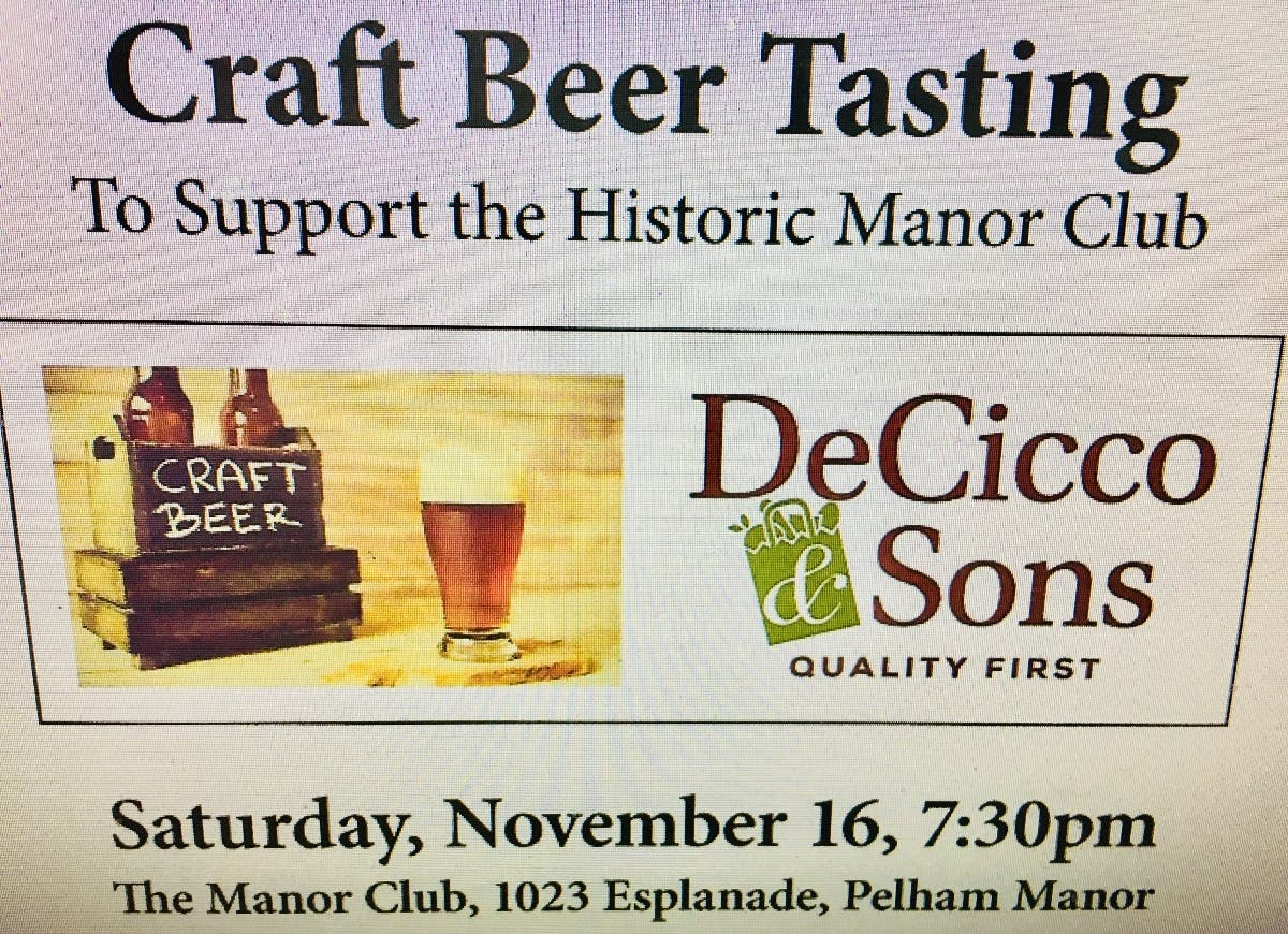 Craft Beer Tasting to Support the Historic Manor Club - Patch.com