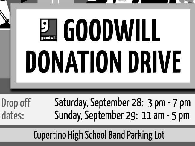 9/28-9/29 Cupertino High - Goodwill Fundraiser   Cupertino