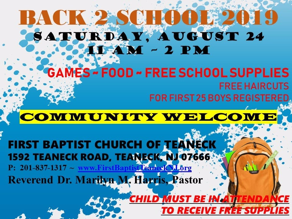 Aug 24 | Free School Supplies Giveaway at First Baptist