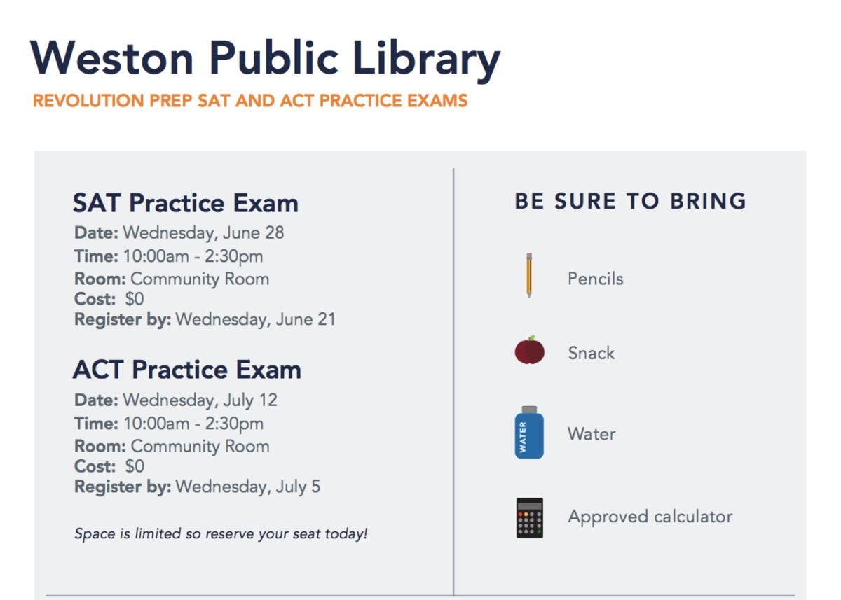 Weston Public Library to Host Practice SAT & ACT for Teens This