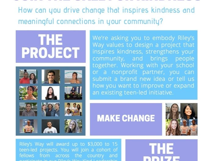 Rileys Way Announces the Call for Kindness Competition for Teens
