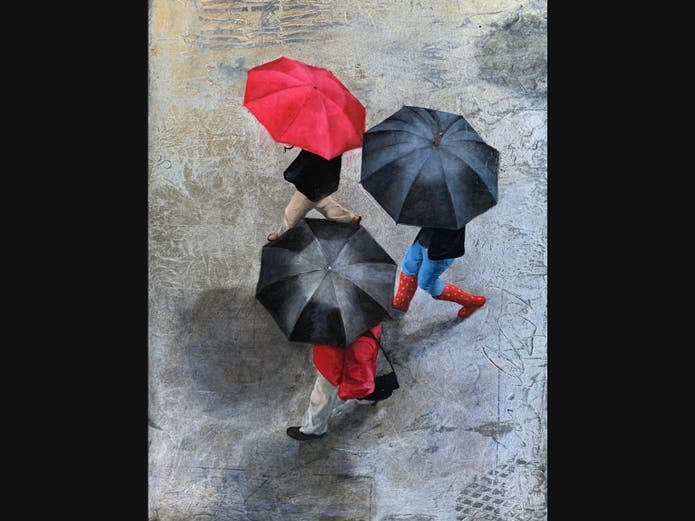"""""""Rainy Day Reds,"""" acrylic and silver leaf on board, 18x24 in., 2019, $1800"""