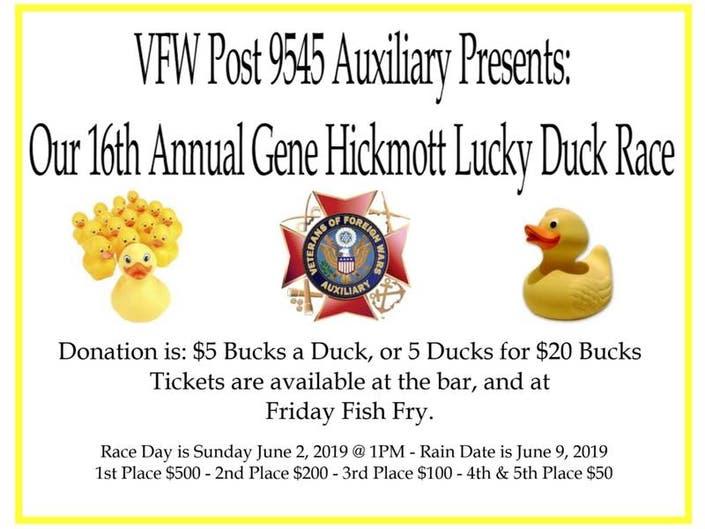 New Lenox VFW Post 9545 Auxiliarys 16th Annual Lucky Duck Race