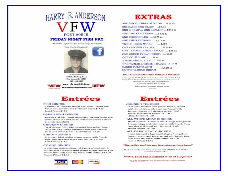 NL VFW Friday Fish Fry Carry Outs Only Please Phone Ahead