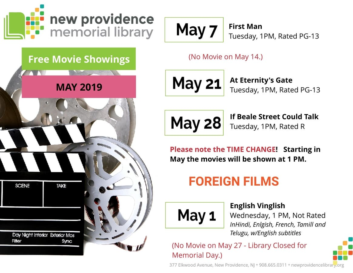 May 2019 Events at the New Providence Memorial Library | New
