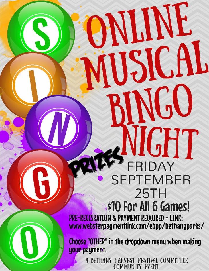 SINGO! Musical Online Bingo - Bethany Harvest Festival