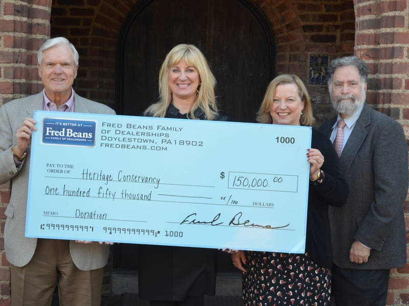 Fred Beans Doylestown Pa >> Heritage Conservancy Receives 150k Donation From Fred Beans