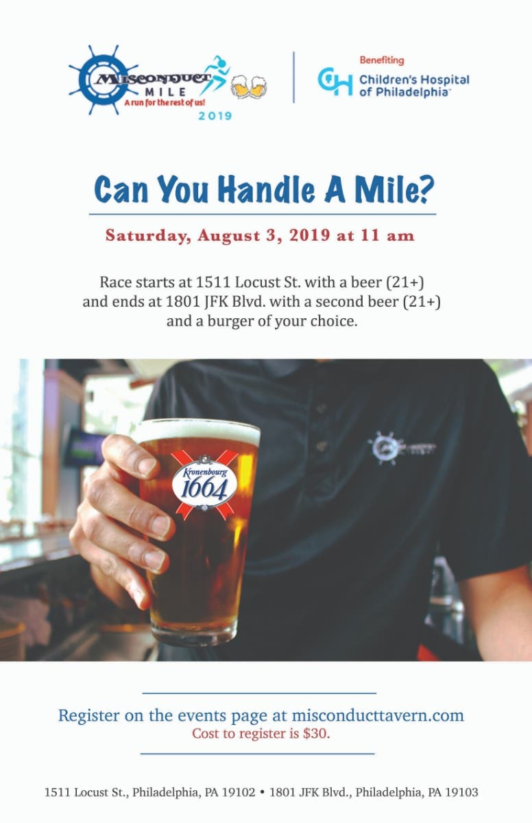 Aug 3 | The 2019 Misconduct Mile Benefiting CHOP | Media, PA