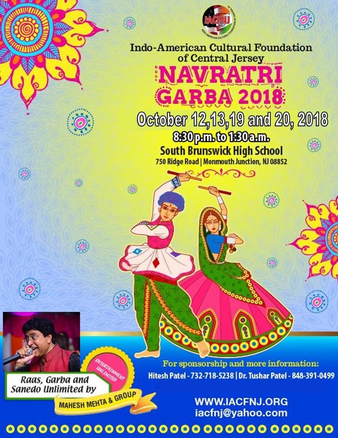 IACFNJ will hold Navratri Garba at the SB high school