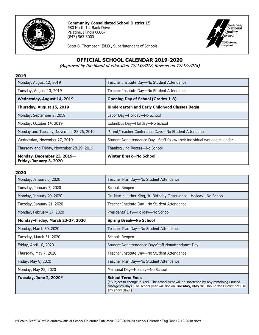District 15 2019-2020 School Calendar: Important Dates to