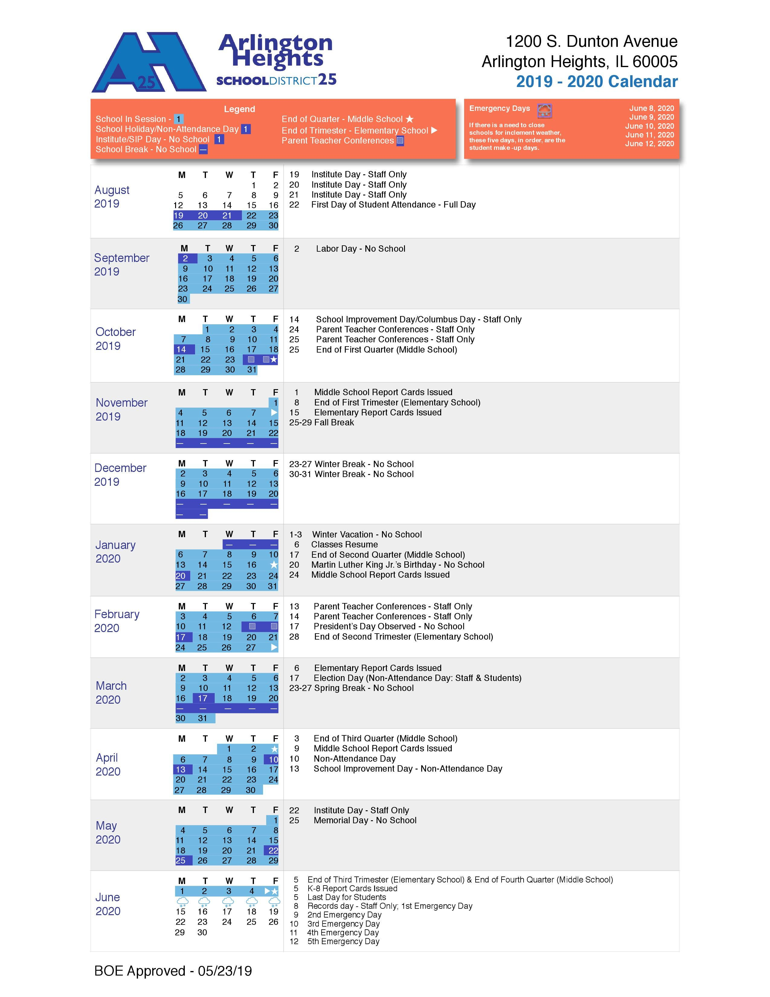 District 25 School Calendar 2019-2020: Important Dates to Know