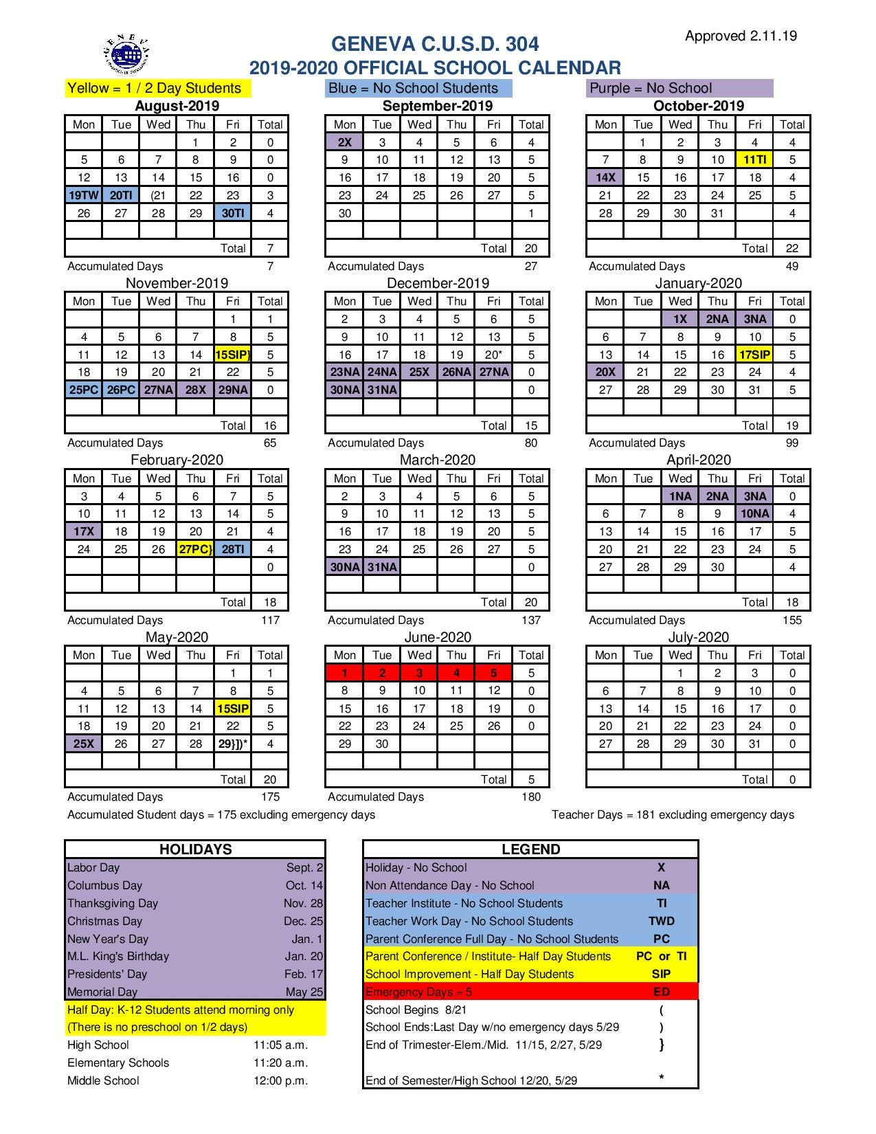 Montgomery County School Calendar 2019 20.District 304 School Calendar 2019 20 Important Dates To Know