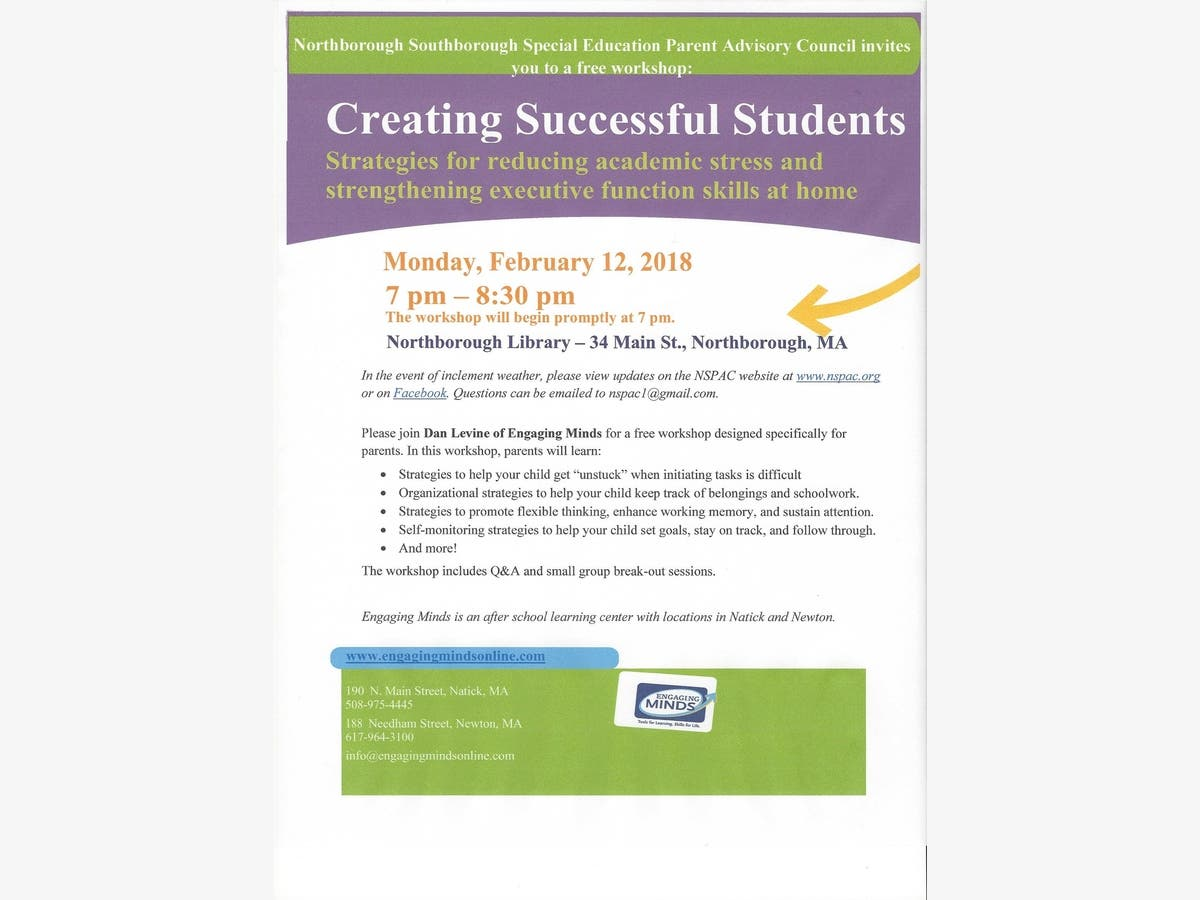 Strengthening Executive Function >> Creating Successful Students Workshop To Be Held On Feb 12