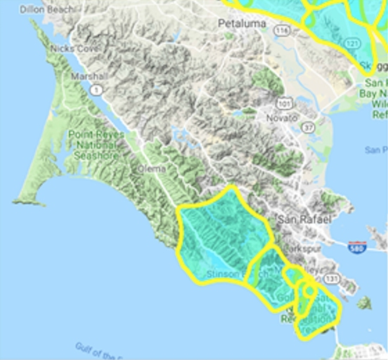 Nearly 10,000 Marin Households Will Be Affected By Power ... on pepperwood ca map, san luis obispo county ca map, port of oakland ca map, east bay area ca map, sacramento valley ca map, lake county ca map, lucia ca map, dillon beach map, alpine lake ca map, san francisco novato ca map, san rafael ca street map, yolo county map map, san andreas fault ca map, tejon ranch ca map, santa clara county ca map, santa barbara county map map, allegheny county watershed map, ocean county ca map, eldorado county ca map, crockett ca map,