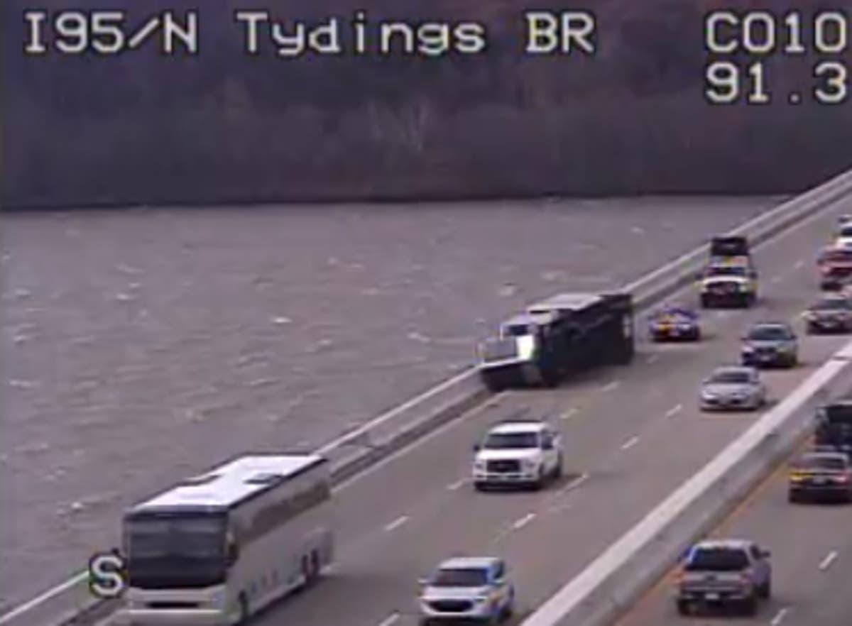 fca2859a2e3 Two Tractor Trailers Flip On Tydings Bridge In High Winds   Havre de ...
