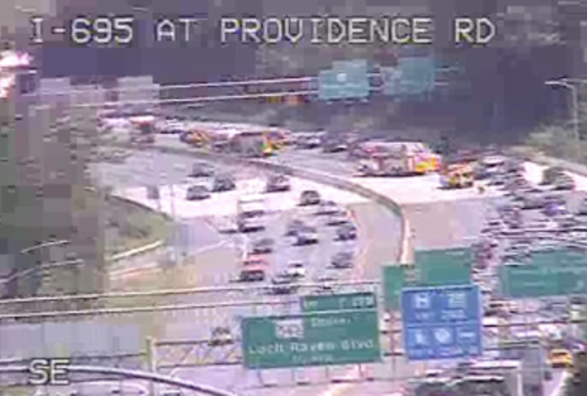Crash On I-695 Near Providence Road Reported   Towson, MD Patch