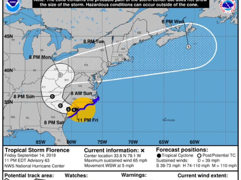 As Tropical Storm Florence Tracks Inland, MD Still On Alert