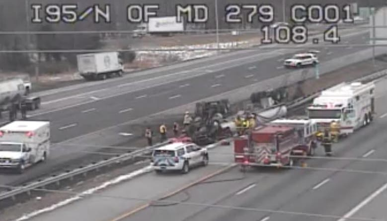 I-95 Tanker Crash In Cecil: Driver Hospitalized, Lanes Reopen