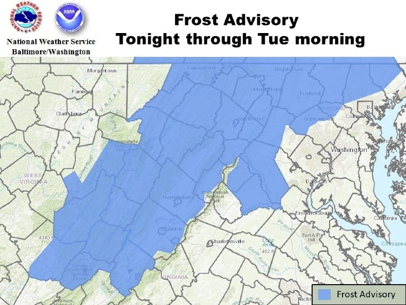 Frost Advisory Issued For Parts Of Maryland